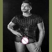2017 High quality Men's Gay Underwear Sexy Faux Leather Men Underwear Sexy Boxer Set Vest Size M L XL