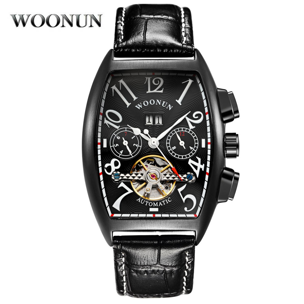 2018 New Men's Watches Mechanical Watches Mens Skeleton Watches Top Brand Luxury Automatic Watch Tonneau montre homme Leather baogela hollow skeleton automatic mechanical watches mens top brand luxury leather band gold business wristwatch