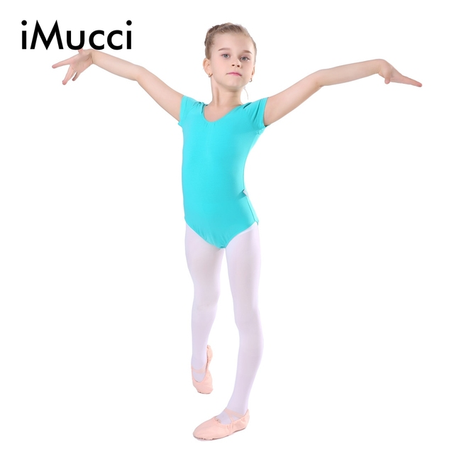 e2ec5f0df8a2 iMucci Short Sleeve Drawstring Professional Girl Gymnastics Leotard ...