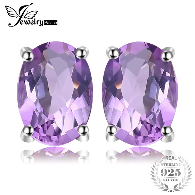 JewelryPalace Classic Oval 1.4ct Natural Purple Amethyst Birthstone Stud Earring