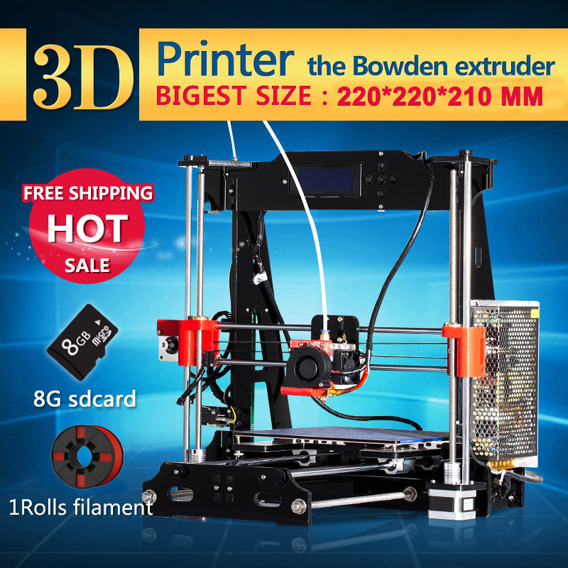 Newest Upgraded Quality High Precision 3D Printer DIY Full Kits with 1 roll filament 8Gb SD card free shipping high quality precision reprap prusa i3 diy 3d printer kit with 1 roll filament 8gb sd card