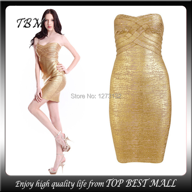 ff2c921458d4 Women Tube Gold Strapless Bandages Dresses Back Zipper Cocktail Party Dress  Sexy Mini Dress 12119