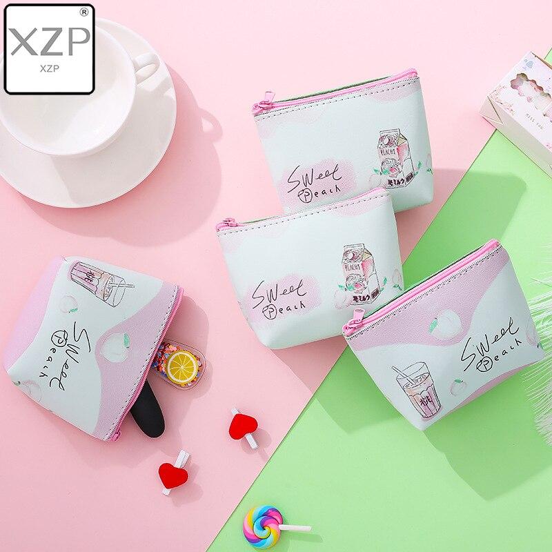XZP Sweet Pink Peach Print Coin Purses Women PU Leather Small Wallet Fashion Handbags Purses Girls Card Holder Kids Mini Bags