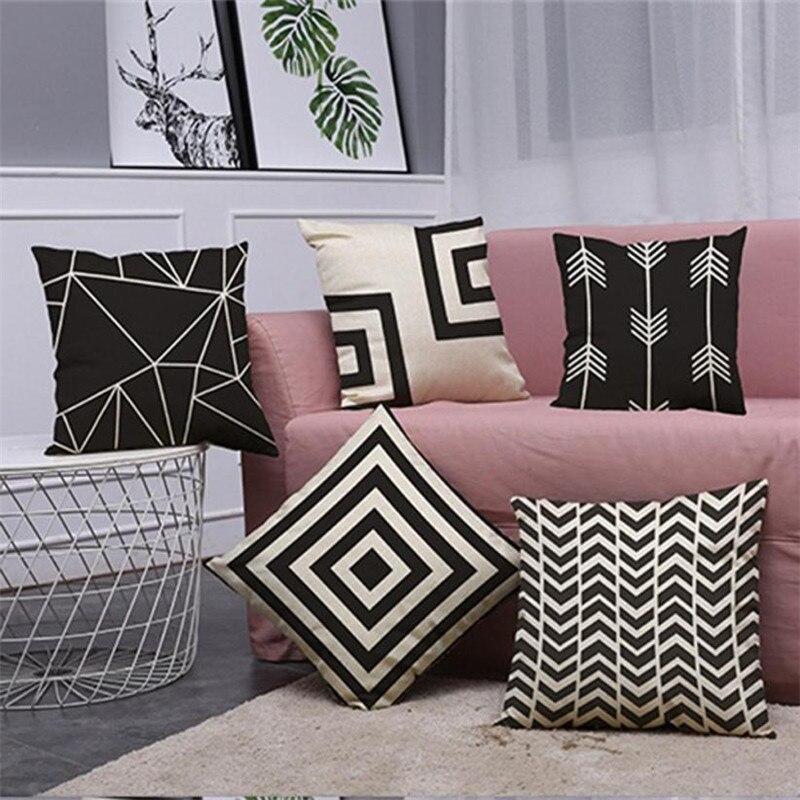 pillow covers decorative Vintage Black & White Cotton Linen Throw Cushion Home Decor x30330