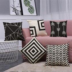 Black & White Cotton Linen Throw pillow covers decorativa Do Vintage de Decoração Para Casa Almofada x30330
