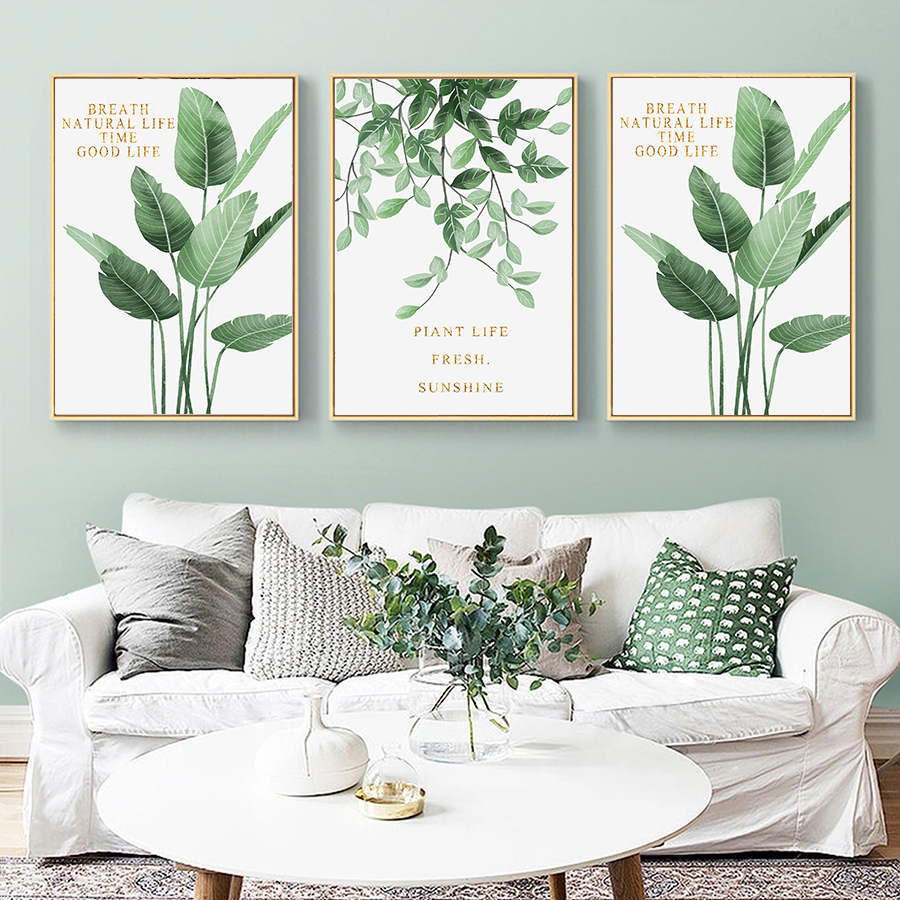 Nordic Style Poster And Prints Tropical Green Plant Scandinavian Decor Canvas Painting Wall Art Picture For Living Room No Frame