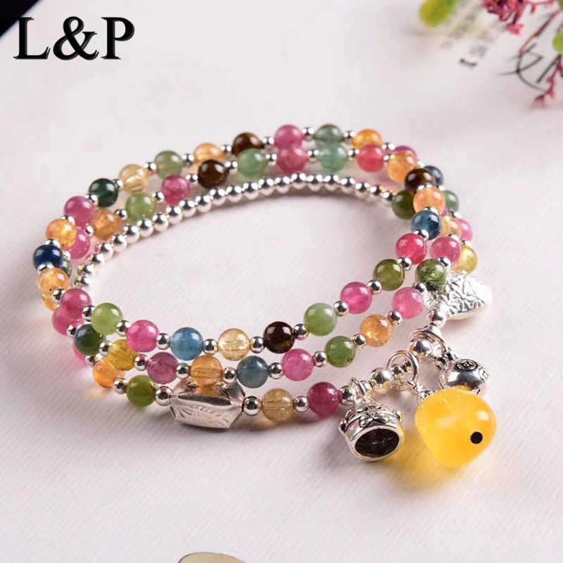 Fashion New Bracelet Natural Gemstone Beaded Bracelet For Women Natural Tourmaline With Pure Silver Charms Gift Charm Jewelry цены