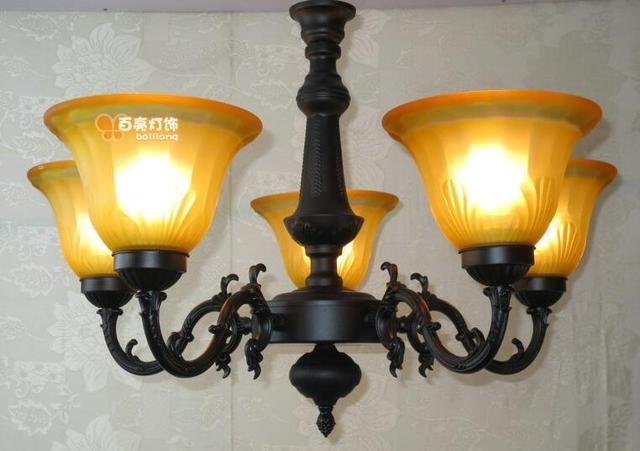 Hanglamp 5 Lampen : Restaurant lamp smeedijzeren hanglamp mode lampen rustieke