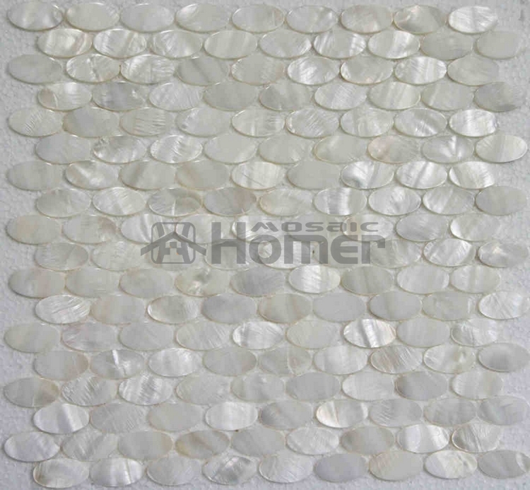 blanco oval mosaico de madre de pearl azulejos de mosaico de pared azulejos blanco oval shell