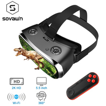 Sovawin 올인원 VR Hdmi 헤드셋 2K HD Wifi 3D 스마트 안경 가상 현실 몰입 형 고글 골판지 VR 헬멧 5.5 디스플레이