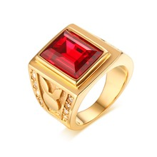 Mprainbow Mens Signet Rings Yellow Gold Plated Red Crystal CZ Ring for Men Bague Vintage Jewelry Fashion Garment Accessory