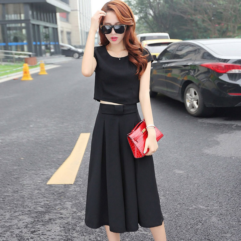 Women's Short Sleeve Tops And Loose Cale-Length Pants Solid Two-Piece Female Girl Sets Round Neck Sweet Office Career Clothing