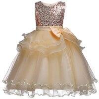 Nacolleo 2017 Sequined Party Dress Girls Kids Voile Ruffled Princess Vestido Flower Girls Dress Kids Baby