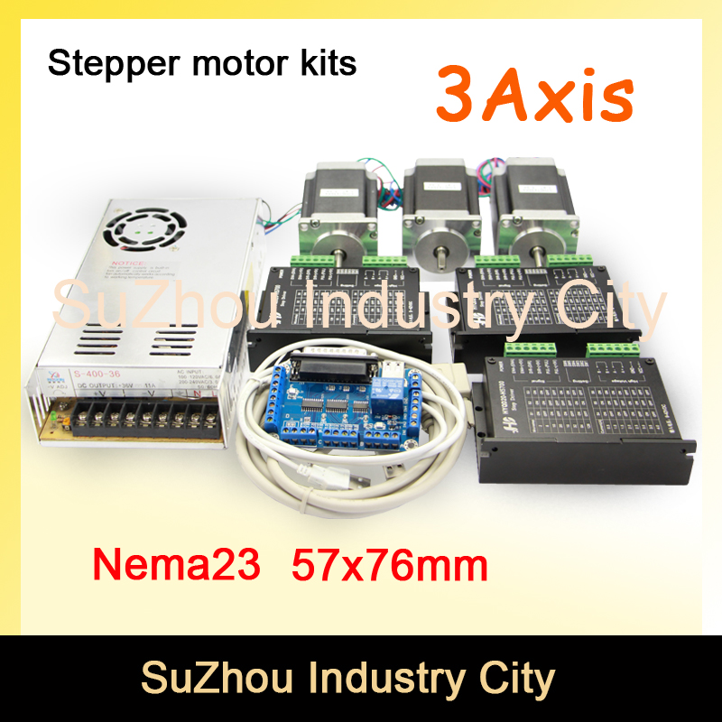 3Axis CNC stepper motor control kits name23 stepping motor + Driver 9-42VDC 4A+Power supply switch 400w 36v+5axis breakout board nema17 nema23 cnc stepping motor driver tb6600 stepper motor driver 16 micsteps 42vdc 4 5a motion motor speed control