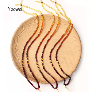 Image 3 - Yoowei 3 مللي متر 55 سنتيمتر العنبر سلسلة قلادة للنساء حقيقية مستديرة صغيرة Bead بها بنفسك حبة 100% ريال الطبيعية مجوهرات كهرمان بلطي بالجملة