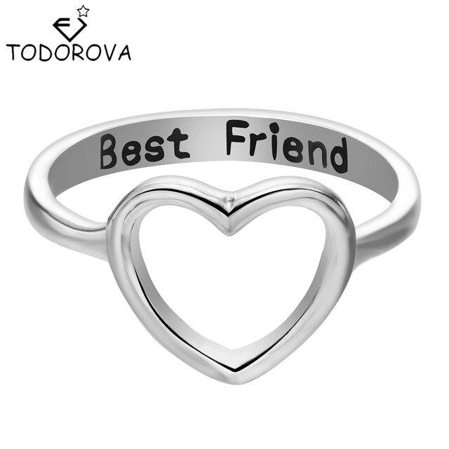 todorova letter best friend love heart finger rings for women midi simple party ring female forever