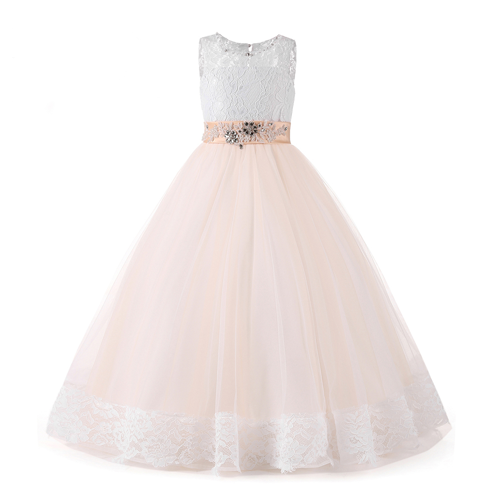 все цены на Lace Mother Daughter Dresses For Girls A-Line Flower Girl Dresses With Beaded Sash Kids Prom Dress Tulle Girls Wedding Dresses