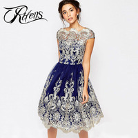 Urifens New 2018 O Neck Elegant Lace Dress Women Hollow Out Mesh Embroidery Party Dresses Vintage