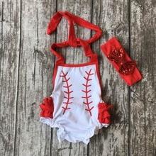 Bébé enfants d'été tenues infantile bébé enfants baseball barboteuse filles baseball bulle barboteuse avec match arcs