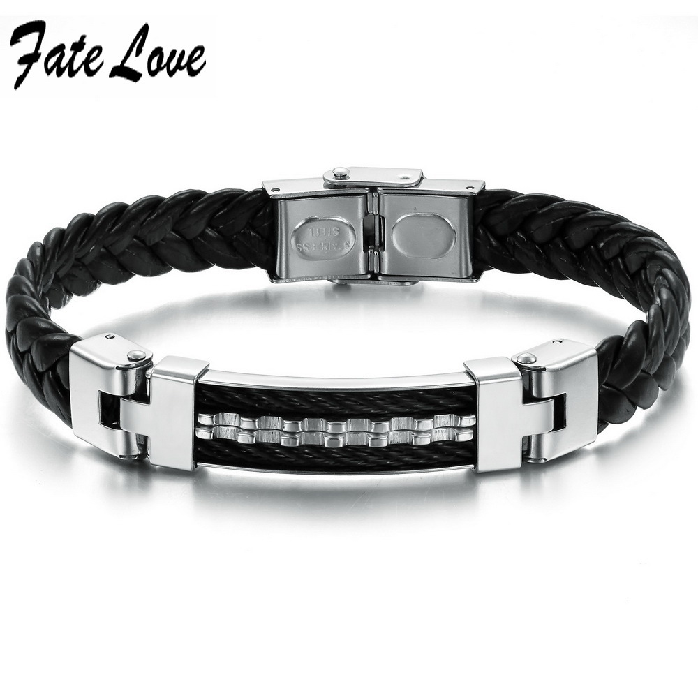 Fate Love cool leather metal bracelet men,Casual Style,fashion mens jewelry,factory price FL816