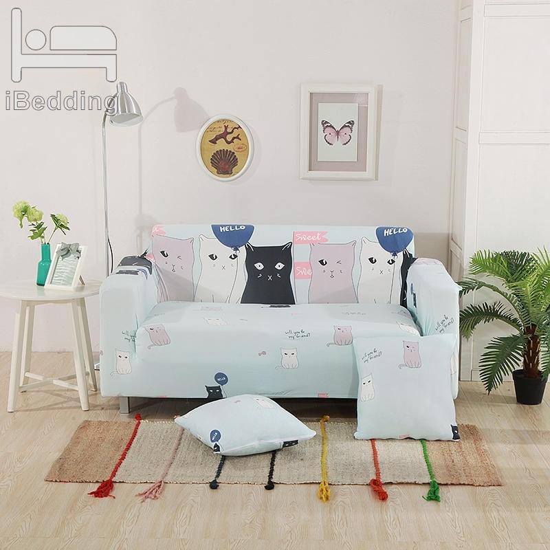 Fashion Cute Cat Sofa Protector Cover for Living Room Sofa