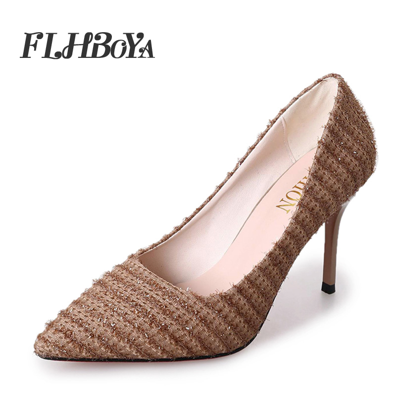 ed4a45751 New Fashion Woman Sexy Thin High Heels Mesh Pumps For Women Lady Weave  Trendy Black Pointed Toe Slip on Shallow Femme Pump Shoes-in Women's Pumps  from Shoes ...