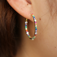 circle hoop earring 2019 new design gold color rainbow multi color cubic zirconia cz fashion modern jewelry