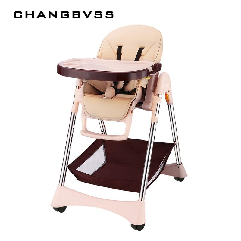 2017 nouveau quatre couleurs bébé chaise d'alimentation avec roues facile à nettoyer infantile bébé chaise haute 6-48 mois réglable chaise haute poltrona