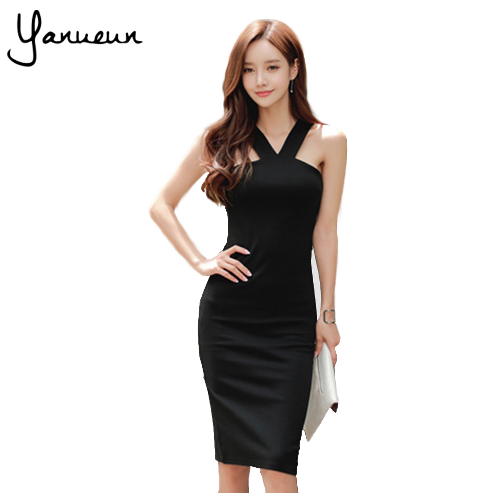 Black dress korean - Yanueun Korean Fashion Women Bandage Dress Summer Fashion Sleeveless Bodycon Dresses Female Summer Dress 2017 Evening