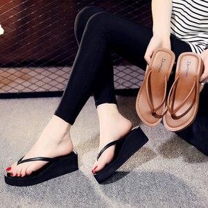 Image 2 - Ipomoea Women Beach Flip Flops 2020 Summer Platform Shoes Woman Fashion Wedges Slippers Female Casual Sandals Slides SH041402