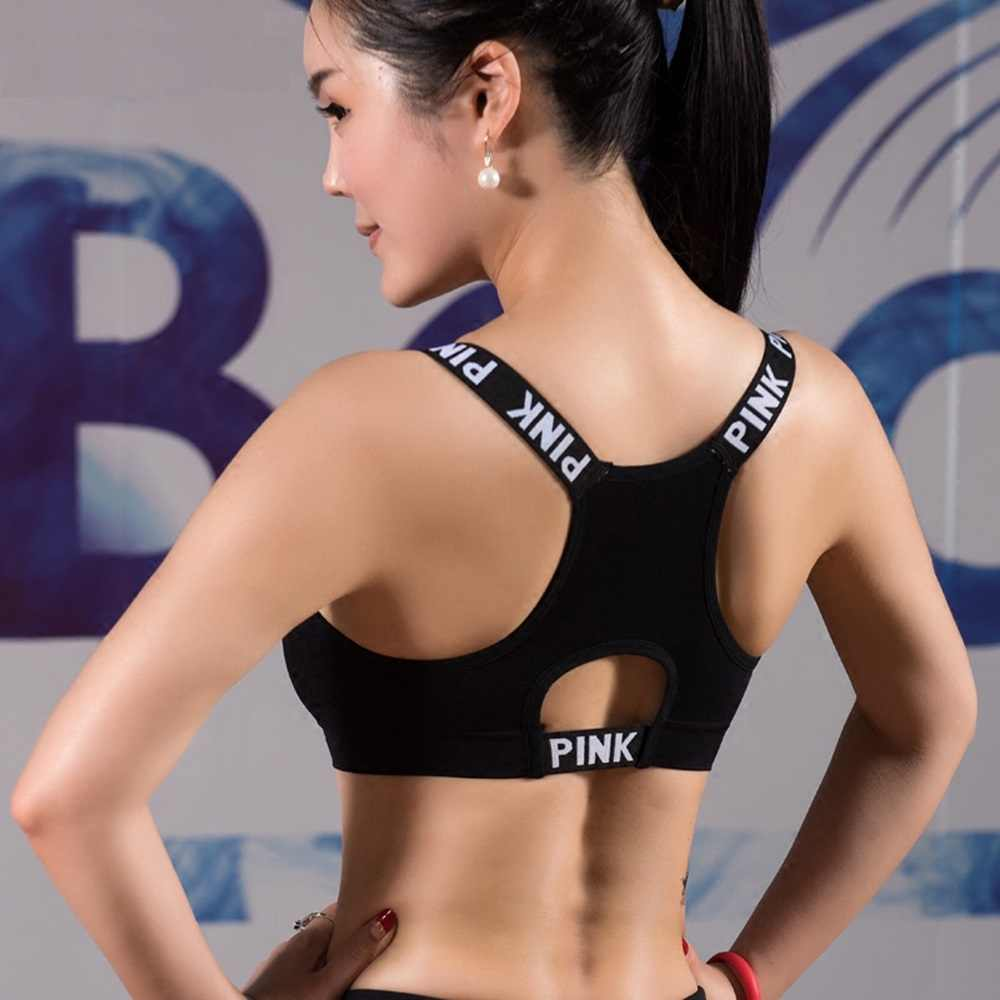 61d63b7cb64fd Push Up Sports Bra Fitness Women Sport Bra Top Black Padded Yoga Brassiere  Sport Bra Sports