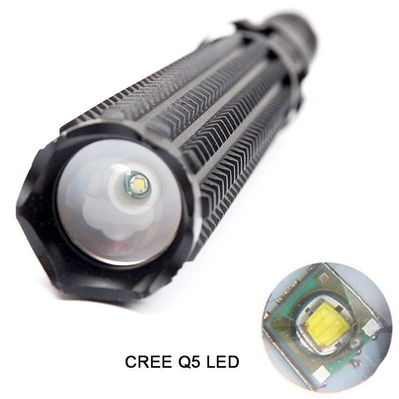 LED Flashlight Aluminum Zoom Baton Flashlights Police Self Defense Tactical Torch Light Lantern by 1x18650 or 3xAAA battery