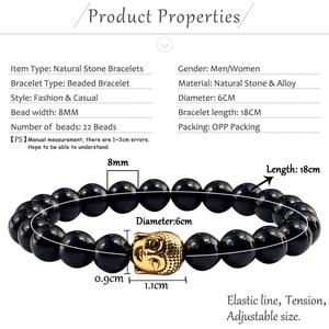 Image 5 - Black Volcanic Lava Stone Buddha Head Elastic Bracelet Male Female Charm Prayer Matte White Beads Bracelets Bangles Jewellery