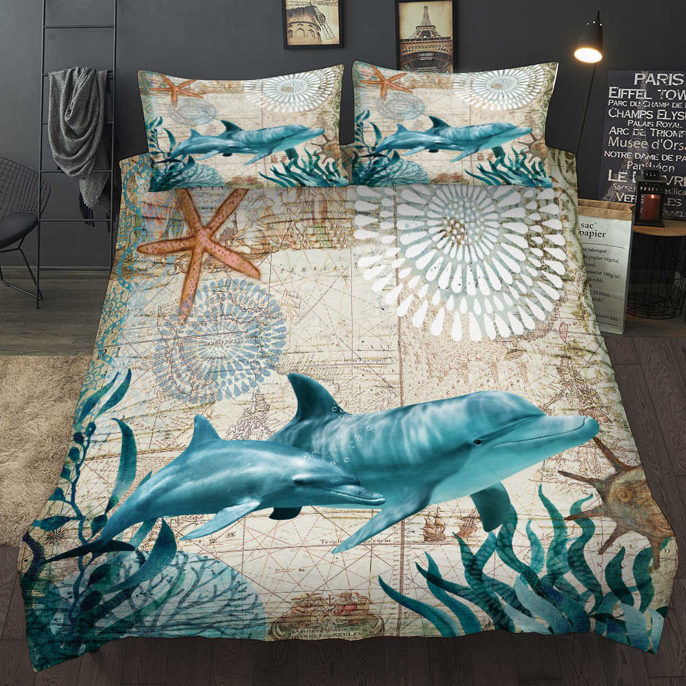 New Lovely Bay Turtle Marine Sea Bedding Set Adult Kid Girls Duvet