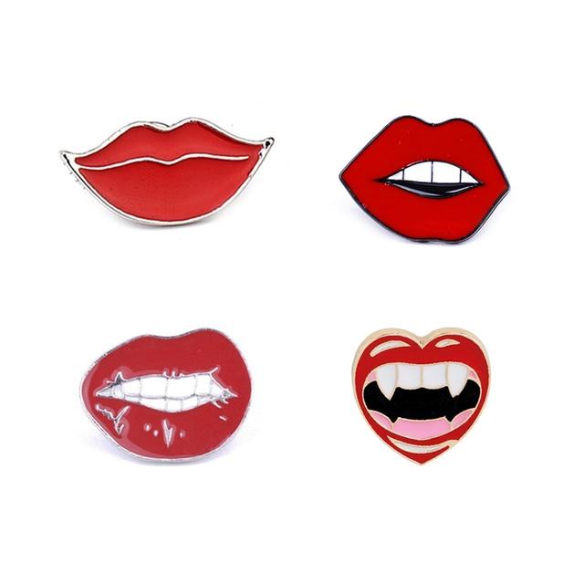 Hot 4 Gaya Lucu Seksi Bibir Merah Enamel Pin Bros Kreatif Kartun Lencana Denim Dekorasi Pin Bros untuk Wanita pria