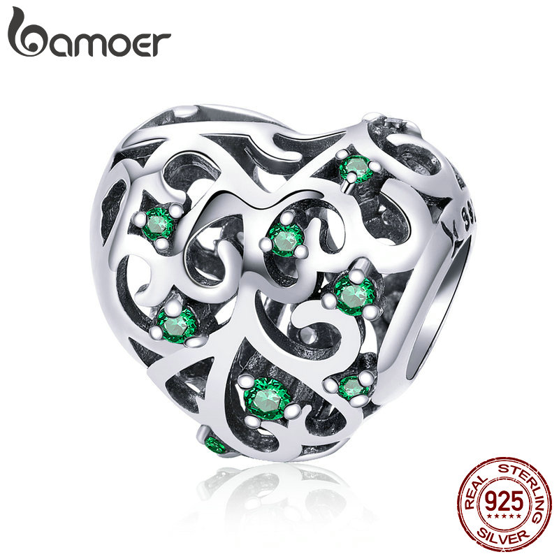 BAMOER Fashion 925 Sterling Silver Tree of Life Leaves Heart Pave Beads fit Women Charm Bracelets & Necklace DIY Jewelry SCC720 chic life tree heart necklace for women
