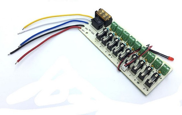 US $13 8 |5V 12V 24V DC power distribution 9 Channels PCB board terminal  block for switching power supply current wiring LED switch-in Instrument
