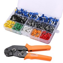 цена на 1pc Electrical Ratchet Crimping Plier with 800pcs Wire Stripper Crimper Terminal 0.25-6.0mm2 24-10 AWG