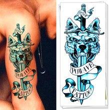 M-theory Sword Of Blue Wolf Temporary Tatoos Body Art Flash Tattoos Sticker 21x15cm Fake Tatto Tattoo Sticker