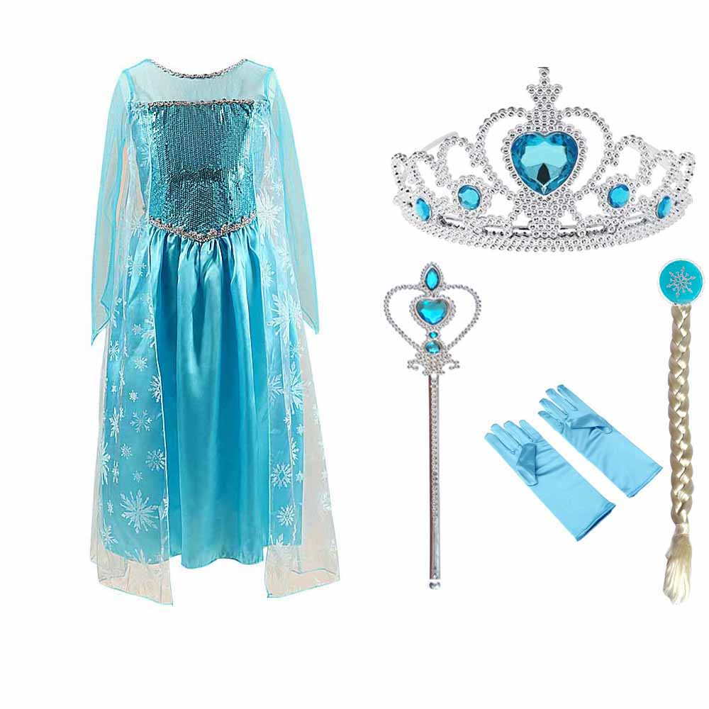 HTB1SD2iXInrK1RjSspkq6yuvXXaS Tiange Wedding Elsa Anna Dress Girls Costume Cute Party Princess Cosplay Baby Dresses Children's Christmas Birthday Set Clothes