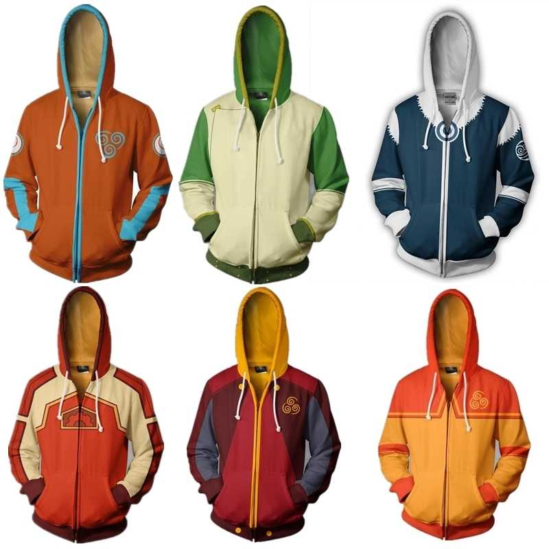 Avatar The Last Airbender Hoodie Cosplay Costume Man Women Anime Casual Zipper Jackets
