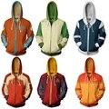 Avatar o último airbender hoodie cosplay traje homem mulher anime casual jaquetas com zíper