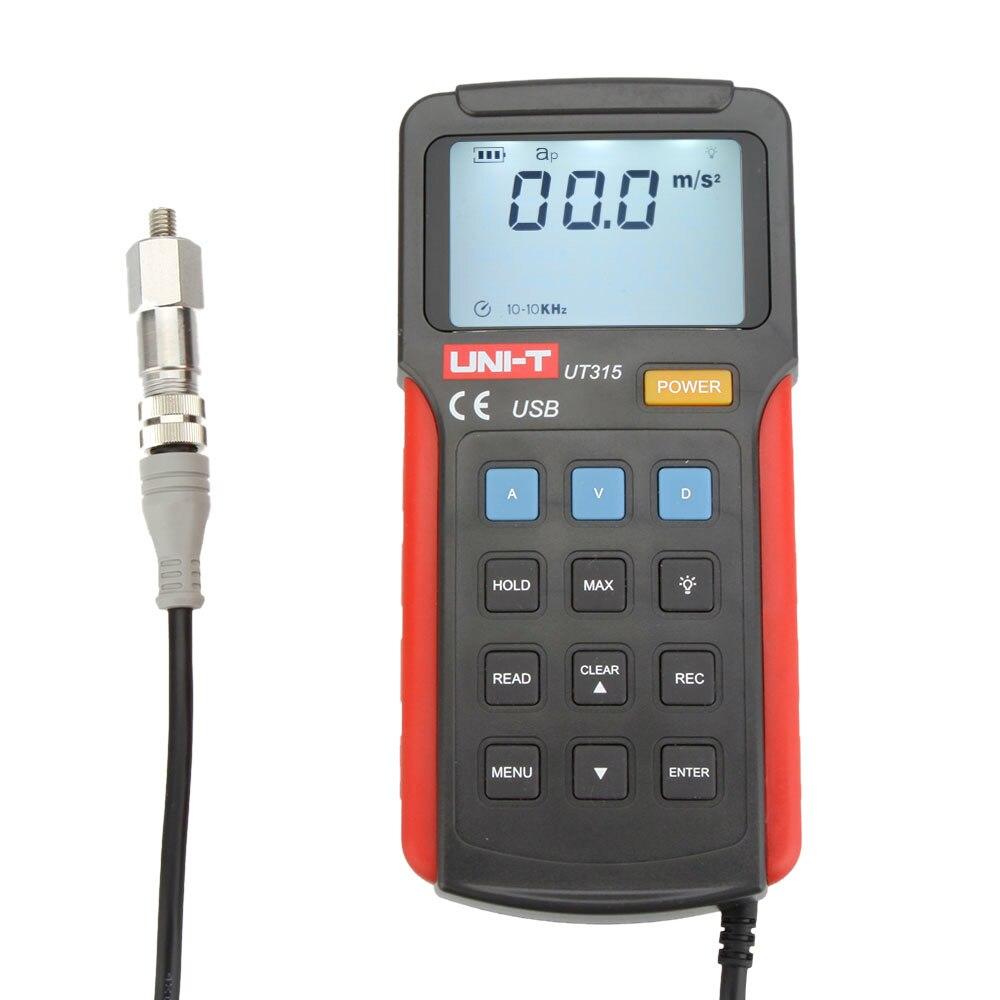 UNI T UT315 Digital Vibration Testers Vibrograph Vibrometer w Acceleration Velocity Displacement Test USB Interface