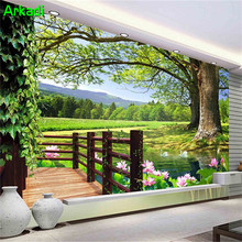 ФОТО restaurant background wallpaper nature  3d garden landscape modern chinese rural  big tree lotus tv sofa living room sofa mural