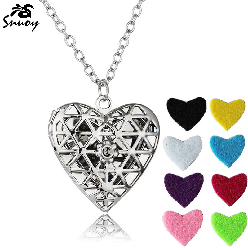 Alloy Essential Oil Fragrance Diffuser Necklace Aromatherapy Heart Choker Locket Pendant Charms with 8 Colors Pads