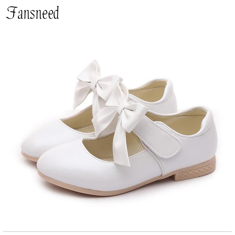 Spring And Autumn2019 Leather Girls Princess Shoes Children Bowknot New Small White Shoes