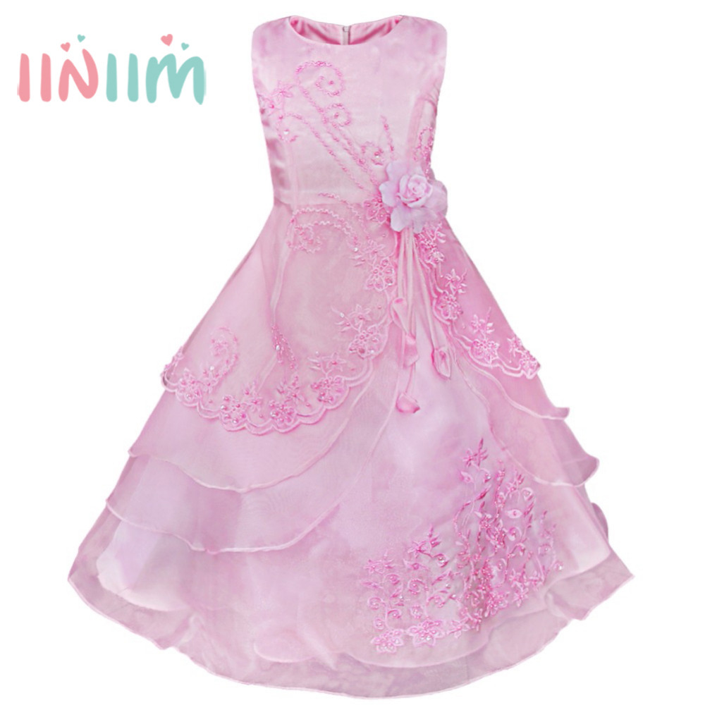 iiniim Embroidered Flower Girl Dress Kids Pageant Party Wedding Bridesmaid Ball Gown Prom Princess Formal Occassion Long Dress girl communion party prom princess pageant bridesmaid wedding flower girl dress new dress