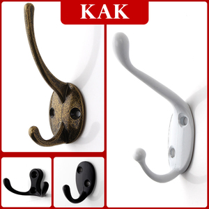 Image 2 - KAK 5pcs/lot Zinc Alloy Bronze Clothes Hangers Wall Hooks Coat Bag Hat Hanging Hooks Bathroom Kitchen Anitque Racks with screws