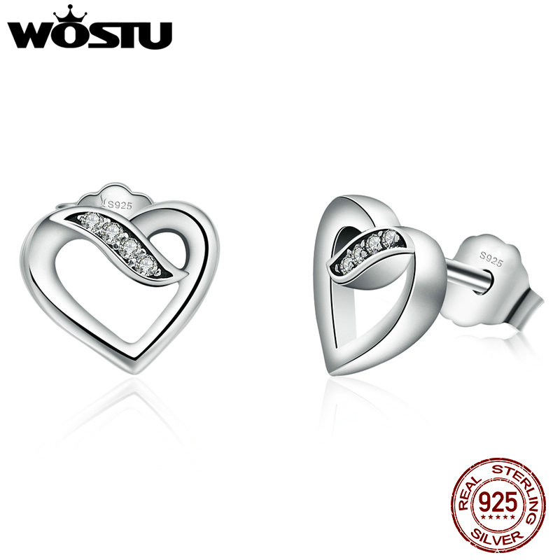 WOSTU Hot Sale 925 Sterling Silver Ribbons Of Love Stud Earrings For Women Authentic Original Brand Fine Jewelry XCHS496 pair of hot sale stunning fashion style magnetic crown shape stud earrings