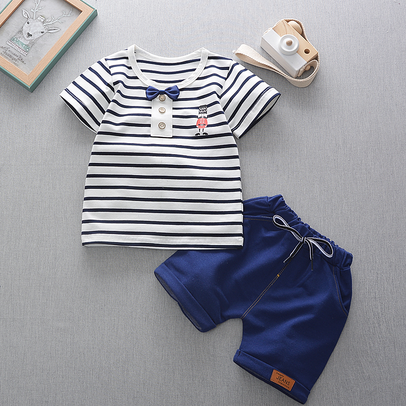 Boys&girls Summer Casual Clothes Set Children Short Sleeve Striped  T-shirt + Short Pants Sport Suits 2017Clothing Sets for Kids vidmid summer girls casual clothes set children short sleeve cartoon t shirt shorts sport suits girls clothing sets for kids